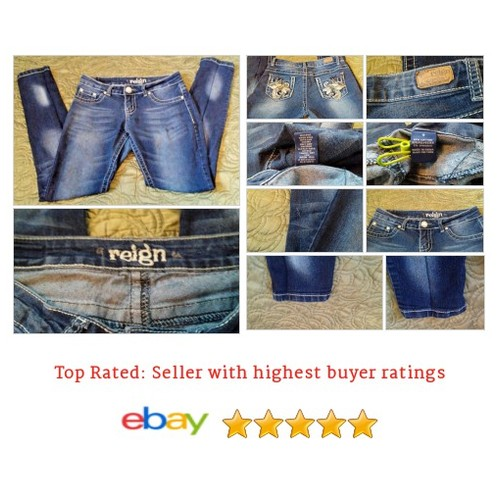#Reign Women's Jeans Size 9 Skinny Bling on Backside Distressed Wash Casual Fun | eBay #Slim #Jean #etsy #PromoteEbay #PictureVideo @SharePicVideo