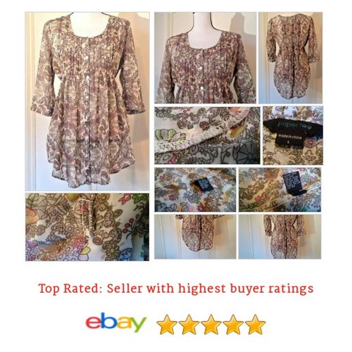 Paper Tee Women's #Blouse size L Tunic BoHo Hippy Peasant Spring Multi-Color Date | eBay #Top #PaperTee #etsy #PromoteEbay #PictureVideo @SharePicVideo