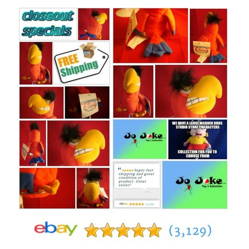 "CLOSEOUT SPECIAL DISNEY-IAGO-ALLADIN-8""BEAN PLUSH-DISNEY STORE-NEW/TAGS-NEFARIOUS GRIN-FUNNY BIRD 