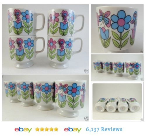 4 Footed Flower Power Stacking Coffee Cups Mugs #Japan Vtg Pink Blue Pedestal #Mug #Vintage #etsy #PromoteEbay #PictureVideo @SharePicVideo