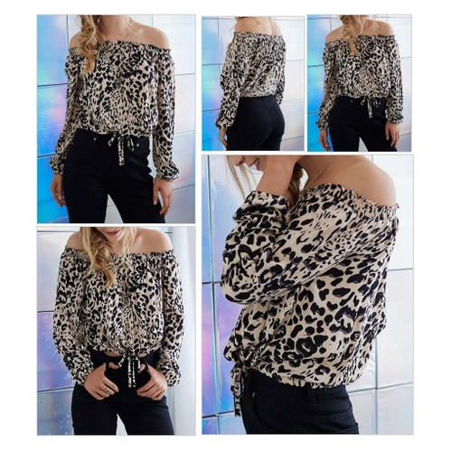Leopard Off Shoulder Tied Hem Blouse @Mynystyle_shop #shopify  #socialselling #PromoteStore #PictureVideo @SharePicVideo