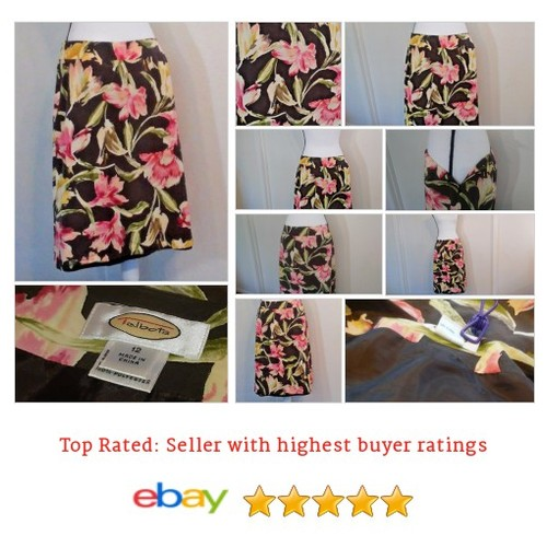 Talbots Women's #Skirt Size 12 Floral Multi-Color Silk Blend Spring Date Summer #ALine #Talbot #etsy #PromoteEbay #PictureVideo @SharePicVideo