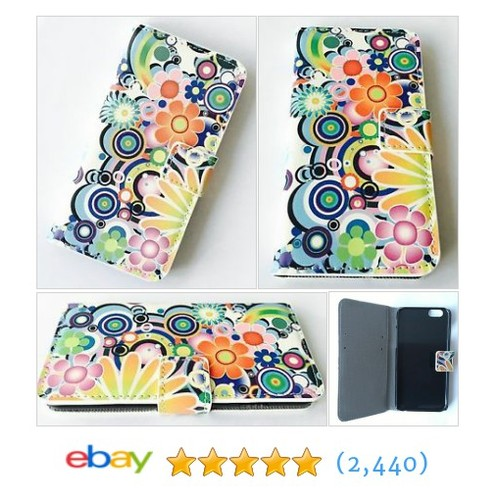 NEW Soft Colourful Flower leather FLIP Iphone 6/6s WALLET PHONECASE #ebay @playurecards  #etsy #PromoteEbay #PictureVideo @SharePicVideo