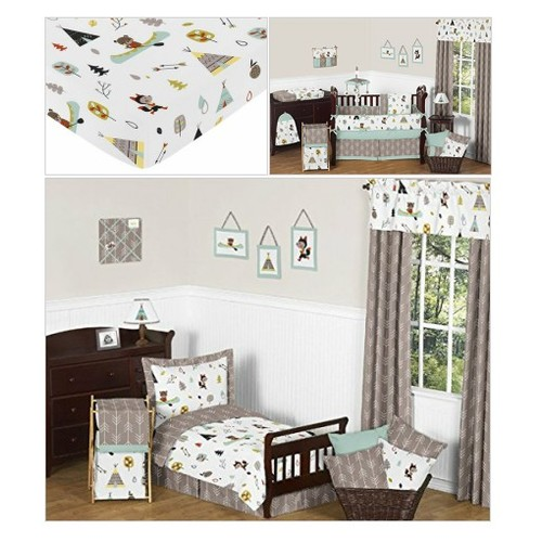 Fitted Crib Sheet for Outdoor Adventure Baby/Toddler Bedding - Nature Fox Bear Animals Boys #socialselling #PromoteStore #PictureVideo @SharePicVideo