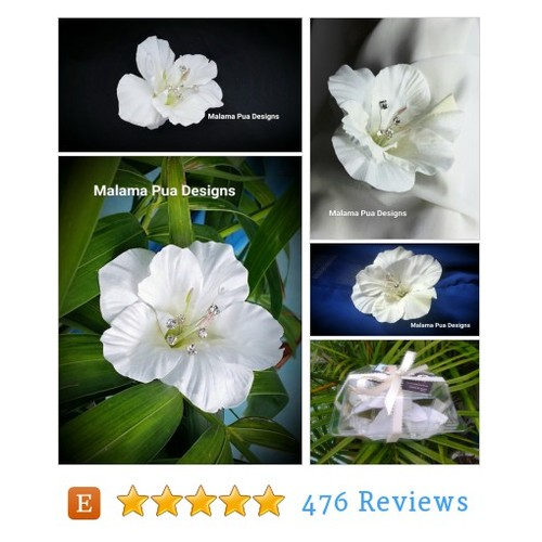 WHITE Real Touch HIBISCUS, Hair clip, #etsy @malamapuadesign  #etsy #PromoteEtsy #PictureVideo @SharePicVideo
