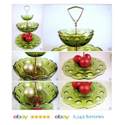 3 Tier Tidbit Serving Tray Server Green Glass Bartlett & Collins Manhattan Fruit #40 #50 #60 #etsy #PromoteEbay #PictureVideo @SharePicVideo
