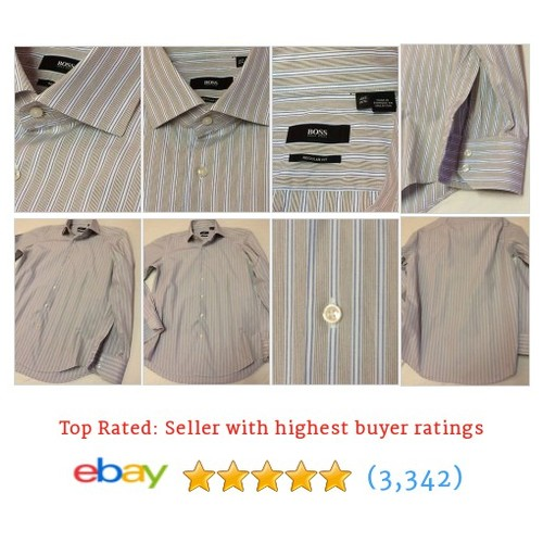 HUGO BOSS Mens Dress Shirt BEIGE BLUE STRIPES 15.5 35 REGULAR FIT #ebay @exquisitecloth  #etsy #PromoteEbay #PictureVideo @SharePicVideo
