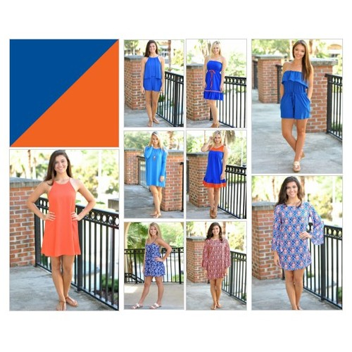 #gameday #Nataliekim #hustleFlorida Orange & Blue Game Day Dresses and Apparel for game day in Gainesville, FL. #socialselling #PromoteStore #PictureVideo @SharePicVideo