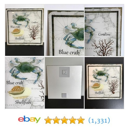 Glass Wall Decor Picture Ocean Life Blue Crab Shellfish Coral #etsy #PromoteEbay #PictureVideo @SharePicVideo