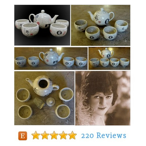 Asian Tea Set, Japanese Teapot and 4 Cups, #etsy @cendearments  #etsy #PromoteEtsy #PictureVideo @SharePicVideo