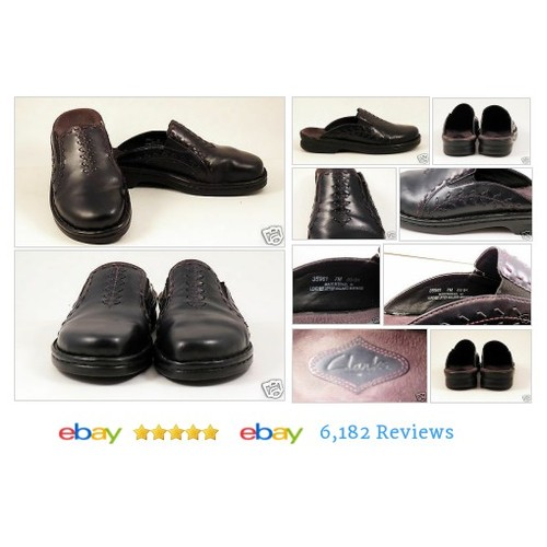CLARKS Womens Size 7 BLACK Mules Slides Shoes Leather VG Western 35961 #Mule #Flat #Clark #etsy #PromoteEbay #PictureVideo @SharePicVideo
