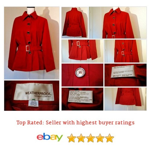 Weatherproof Garment Co. Women's #Coat Size Large L Red Trench Belted Short NWOT | eBay #Trench #Jacket #etsy #PromoteEbay #PictureVideo @SharePicVideo