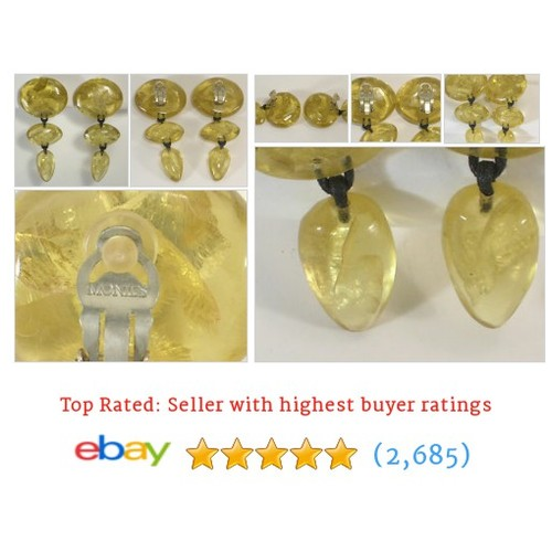 Monies Yellow Resin Very Long Dangle Clip On Earrings  @johngermaine #ebay  #etsy #PromoteEbay #PictureVideo @SharePicVideo