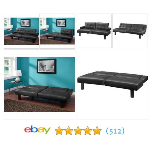 New Mainstays Connectrix Bonded Leather Futon Black #ebay @mdelarosa2kids  #etsy #PromoteEbay #PictureVideo @SharePicVideo