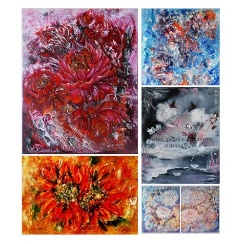 Exclusive Absract flowers original Painting by ArtBuyOnline Etsy shop: #etsy #PromoteEtsy #PictureVideo @SharePicVideo