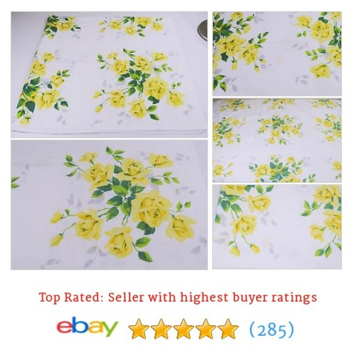 "Vintage Wilendur Yellow Royal Rose Tablecloth 45"" x 42"" #ebay @rippling_water  #etsy #PromoteEbay #PictureVideo @SharePicVideo"