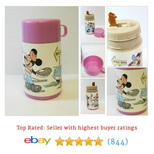 VINTAGE Pink ALADDIN THERMOS LUNCH MICKEY MINNIE MOUSE Walt Disney #ebay @rrsib  #etsy #PromoteEbay #PictureVideo @SharePicVideo