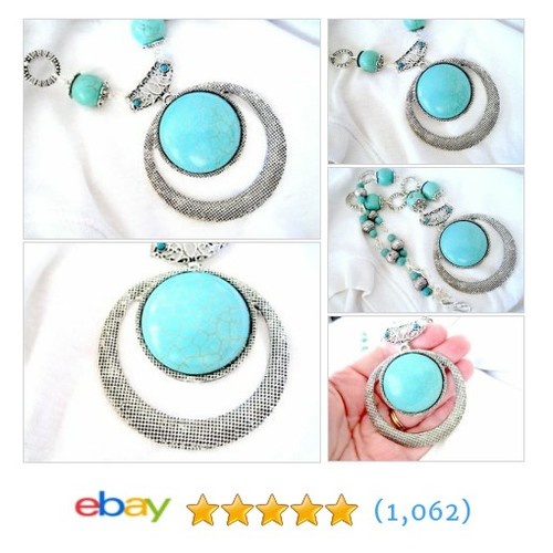 Round Turquoise Silver Tibetan Lined Pendant Beaded Beautiful #ebay @mariandavis  #etsy #PromoteEbay #PictureVideo @SharePicVideo