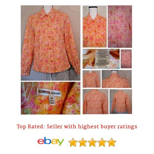 Rebecca Malone Spring #Jacket Orange Pink Floral Size Medium M | eBay #Coat #BasicJacket #etsy #PromoteEbay #PictureVideo @SharePicVideo