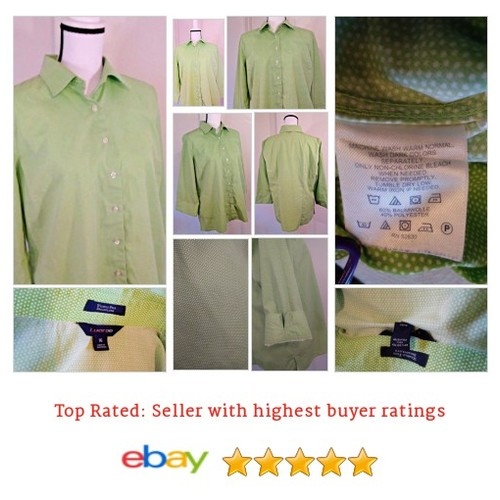 Lands' End No Iron Polka Dot Oxford Cotton Blend 16 Green Button Spring Picnic | eBay #Top #Blouse #LandsEnd #etsy #PromoteEbay #PictureVideo @SharePicVideo