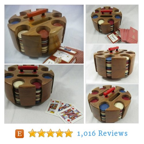 Vintage Wooden Poker Chip Holder Mid #etsy @flyinghostess  #etsy #PromoteEtsy #PictureVideo @SharePicVideo