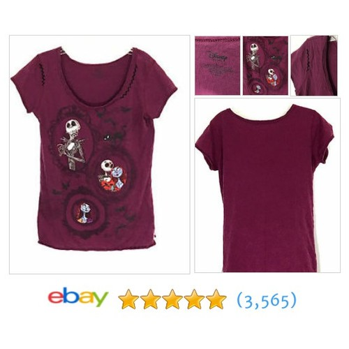 Disney Store Nightmare Before Christmas Wine Embellished Tee T-Shirt #ebay @wegotfunkycrap  #etsy #PromoteEbay #PictureVideo @SharePicVideo