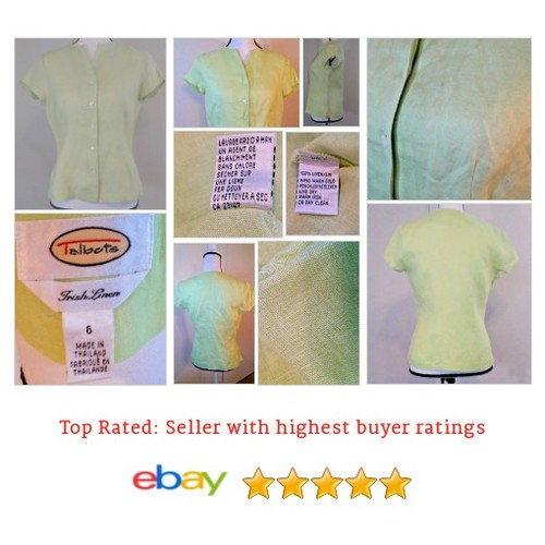 Talbots #Blouse Size 6 Green Irish Linen Buttoned Short Sleeve | eBay #Top #Talbot #etsy #PromoteEbay #PictureVideo @SharePicVideo