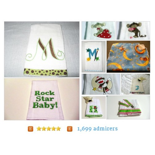 Burp cloths, embroidery burp cloths by kalliescotton Etsy shop  #etsy #PromoteEtsy #PictureVideo @SharePicVideo