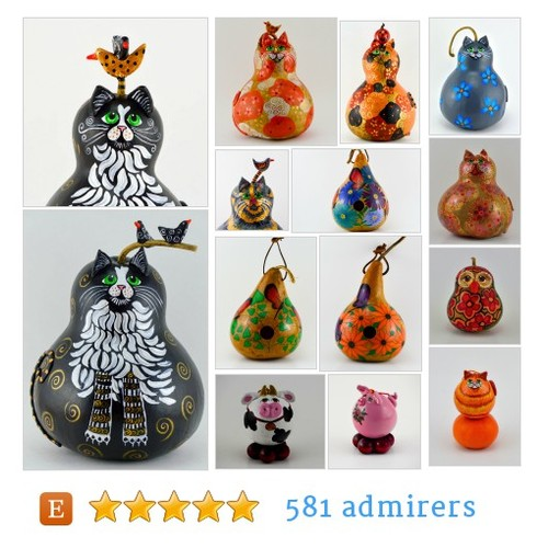Painted gourds by Gourdament Etsy shop @Gourdament #etsy #PromoteEtsy #PictureVideo @SharePicVideo