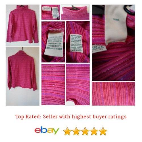 #OBO Tinsel Striped Pink #Sweater #Turtleneck XL | @eBay #Mock #StJohnsBay #etsy #PromoteEbay #PictureVideo @SharePicVideo