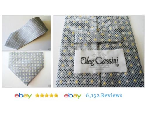 OLEG CASSINI 100% Men Silk #Tie Handmade Necktie Gray Black Small Print T70 #Ty #OlegCassini #etsy #PromoteEbay #PictureVideo @SharePicVideo