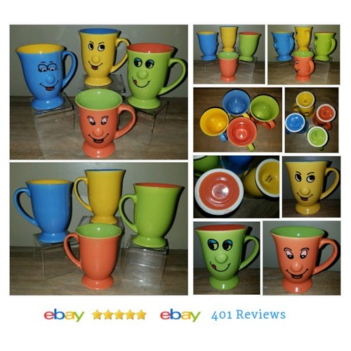 FOUR Smiley Face Pedestal Coffee, Tea #Mug Cup, Bright , Fun | 3D Nose - Lot #Cup #DecorativeCollectible #etsy #PromoteEbay #PictureVideo @SharePicVideo