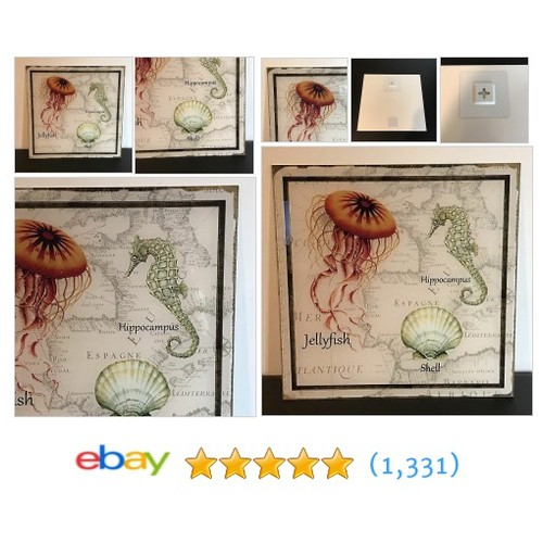 "Glass Wall Decor Picture Ocean Life Seahorse Shell Jellyfish 12""x12""  