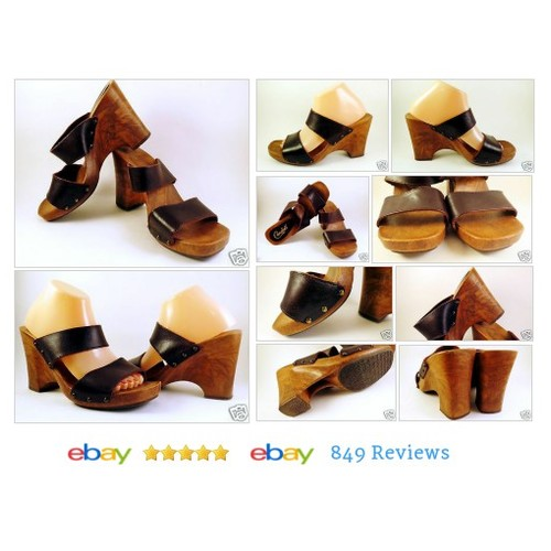 Vtg Candies #Wedge Sandals Sz 10 Leather Mules Womens Brown Platform Studs #Candy #Vintage #etsy #PromoteEbay #PictureVideo @SharePicVideo