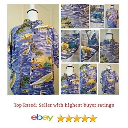 #Hawaiian Shirt Men's Size XL Palm Trees and Boats Blue Print Cotton | eBay #CasualShirt #MensClothing #etsy #PromoteEbay #PictureVideo @SharePicVideo