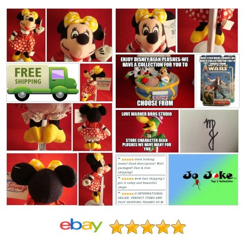 "DISNEY-MINNIE MOUSE-YELLOW BOW-RED DRESS-DOT-8""-BEAN PLUSH-NEW/TAGS-DISNEY STORE 