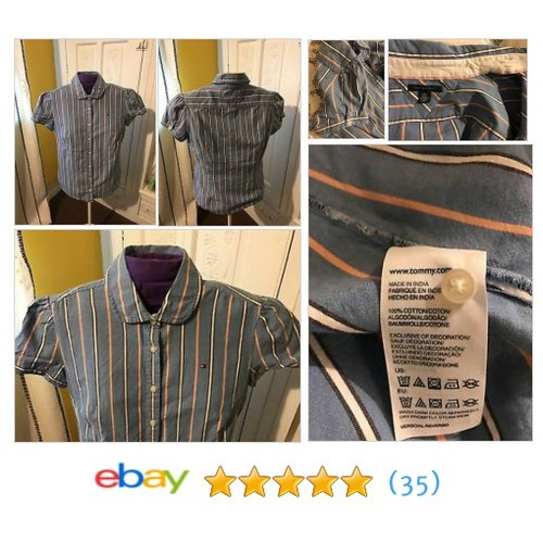 Women's Tommy Hilfiger Blue Pinstripe Button Down Shirt  @ph_phillies_fan #sellonebay #ebay  #etsy #PromoteEbay #PictureVideo @SharePicVideo