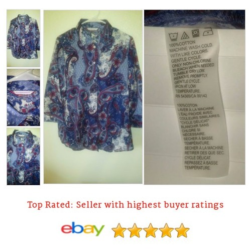 Allison Daley #Blouse Size Large Paisley Button Red White Blue | eBay #Top #AllisonDaley #etsy #PromoteEbay #PictureVideo @SharePicVideo