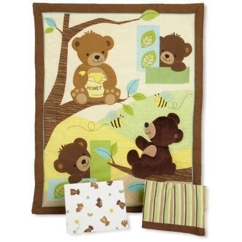 #Bedtime #Originals #Honey #Bear 3 Piece #Crib# Bedding #Set, Brown/Green #socialselling #PromoteStore #PictureVideo @SharePicVideo