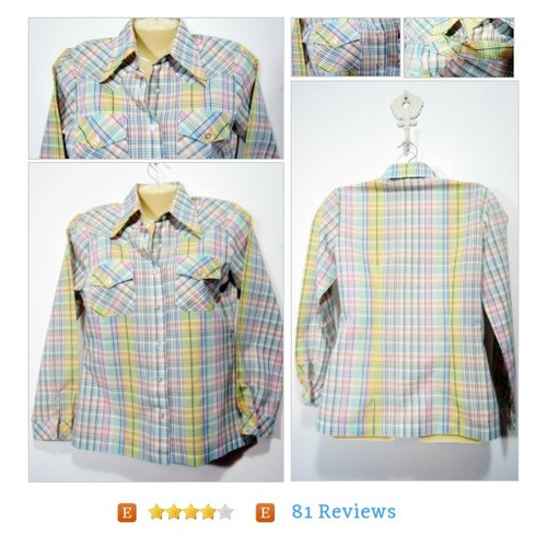 Plaid Western Blouse Pastel Colors Sz Medium 10 12 Vtg Country Cowgirl Permanent Press #Top  #etsy #PromoteEtsy #PictureVideo @SharePicVideo