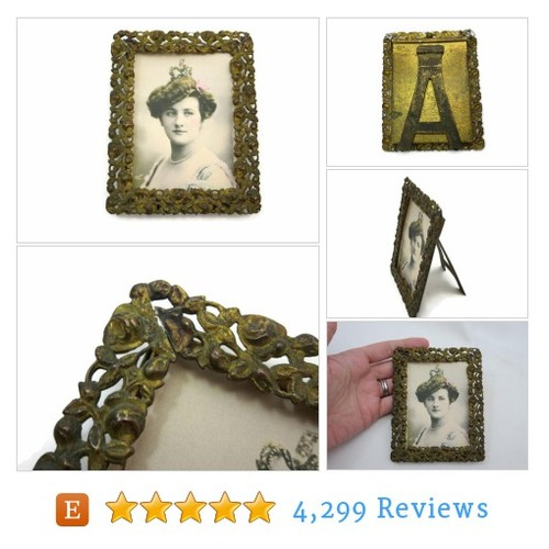 Antique Brass Frame - Roses, Tabletop #home #etsy @vintageinbloom  #etsy #PromoteEtsy #PictureVideo @SharePicVideo