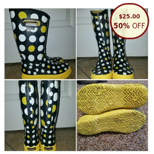 Childrens BOGS Boots, yellow/white polka @teeteesoch https://www.SharePicVideo.com/?ref=PostPicVideoToTwitter-teeteesoch #socialselling #PromoteStore #PictureVideo @SharePicVideo