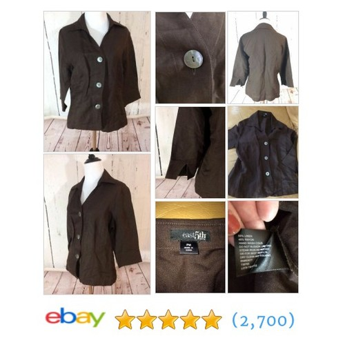 East 5th Womens PM Brown 3/4 sleeve Shirt Jacket Button Front Linen #ebay @youngdesigns  #etsy #PromoteEbay #PictureVideo @SharePicVideo