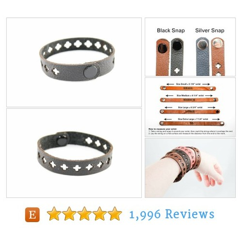 Black Leather Bracelet - Cross Cutouts - #etsy @onceagainsam  #etsy #PromoteEtsy #PictureVideo @SharePicVideo