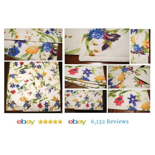 4 SPRING FLOWERS Reversible Table PlaceMats Fabric Canvas TULIPS  #Placemat #TableLinen #etsy #PromoteEbay #PictureVideo @SharePicVideo