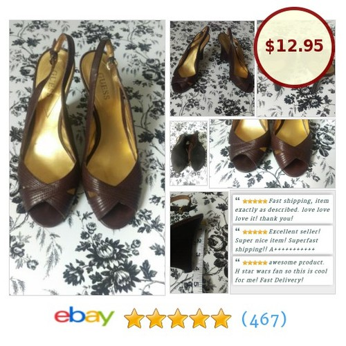 Guess Brown Wedge Shoes Heels Sandals Size 7M |  #GUES #Heel #Sandal @oxamosxo #ebay https://SharePicVideo.com?ref=PostVideoToTwitter-oxamosxo #etsy #PromoteEbay #PictureVideo @SharePicVideo