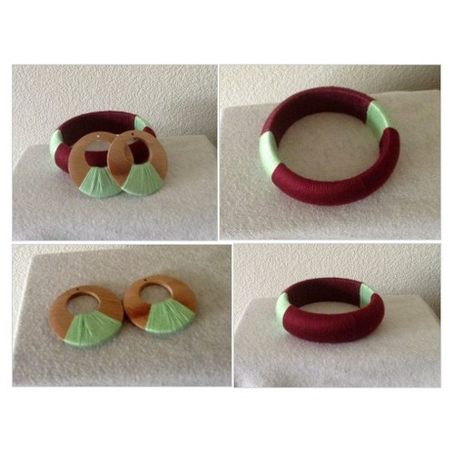Bundle -  Thread Burgundy and Light green Bracelet / Bangle @bijouxbyingrid  #socialselling #PromoteStore #PictureVideo @SharePicVideo