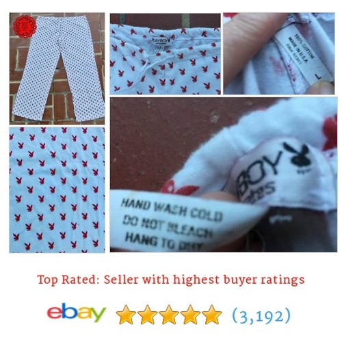 Size L PLAYBOY INTIMATES Soft Stretch White Red Bunny Pajama Lounge #ebay @annie_cocosgems  #etsy #PromoteEbay #PictureVideo @SharePicVideo
