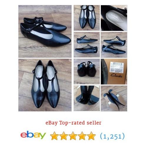 SIZE UK 7.5 D CLARKS SOMERSET CORAL GARDEN BLACK LEATHER PATENT T-BAR #ebay @sawbrook  #etsy #PromoteEbay #PictureVideo @SharePicVideo