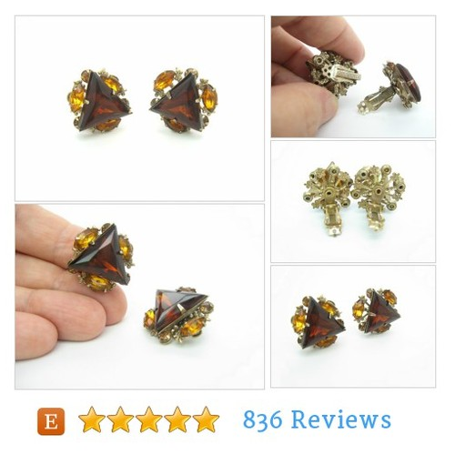 Triangle Earrings. Smoky Topaz Rhinestones. Fleur de Lis. Brown, Amber. Signed Beau Jewels. Clip On. Vintage 1950s Rhinestone Jewelry. #jewelry #earring #cliponearring #etsy #PromoteEtsy #PictureVideo @SharePicVideo